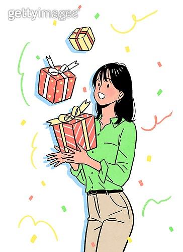 상업이벤트 (사건), 꽃가루, 기쁨 (컨셉), 축하 (컨셉), 선물 (인조물건), 당첨, 비즈니스우먼