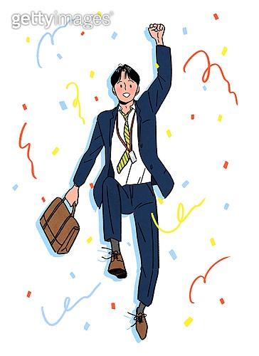 상업이벤트 (사건), 꽃가루, 기쁨 (컨셉), 축하 (컨셉), 점프, 신입사원, 채용 (고용문제), 비즈니스, 비즈니스맨, 슈트 (옷)