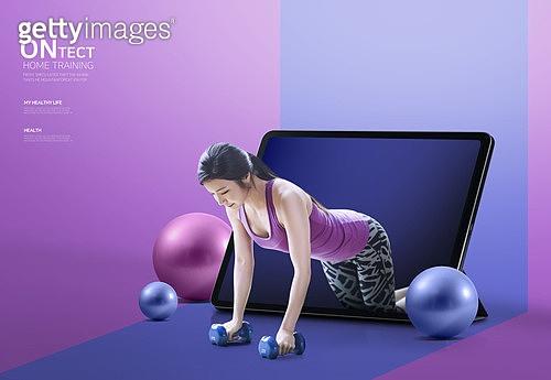 그래픽이미지, 합성, 다이어트, 홈트레이닝 (운동), 스마트폰, 건강관리 (주제), 스트레칭, 여성