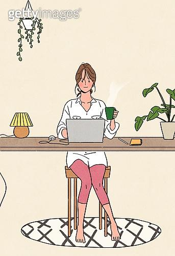여성 (성별), 가을, 라이프스타일, 싱글라이프 (주제), 베이지색 (색), 집콕 (컨셉), 화분, 재택근무, 노트북컴퓨터 (개인용컴퓨터)