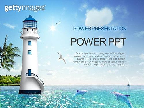PPT,파워포인트,메인페이지,바다,배경,풍경,등대,돌고래