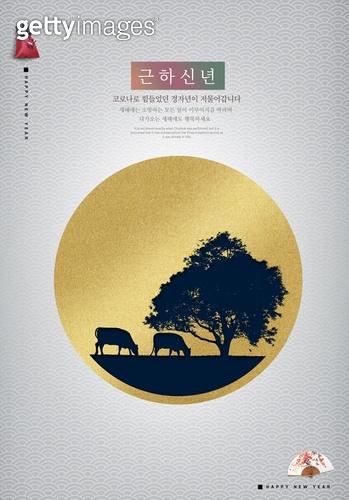 새해 (홀리데이), 일출, 새로움, 시작, 소띠해 (십이지신), 2021년, 백그라운드, 희망 (컨셉), 소 (발굽포유류)