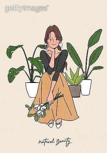 뷰티, 식물, 화분, 편안함 (컨셉), 자연스러움 (컨셉), 라이프스타일, 치즈나무 (열대관목), 꽃, 앉기 (몸의 자세), 반려식물
