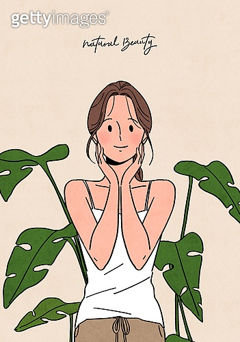 뷰티, 식물, 화분, 편안함 (컨셉), 자연스러움 (컨셉), 라이프스타일, 치즈나무 (열대관목), 스킨케어 (뷰티), 잠옷, 파자마