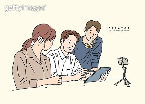 일러스트, 사람들, 1인미디어 (사회이슈), 영상, 영상감독, 비즈니스 (주제), 스타트업, 팀워크