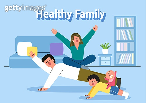 가족, 건강한생활 (주제), 영웅 (컨셉), 건강관리 (주제), 면역력, 부부, 팔굽혀펴기 (근육강화운동), 아기 (나이), 거실, 만세