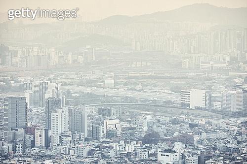 도시, 도심지 (구역), 서울 (대한민국), 도시전경, 대기오염 (공해)
