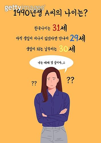사람, 나이, 한국 (동아시아), 사회이슈 (주제), 물음표, 당혹 (컨셉)