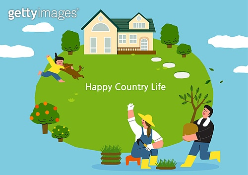 라이프스타일, 집, 전원생활 (컨셉), 별장 (건설물), 가족, 부부, 어린이 (나이), 프레임, 식목 (환경보호), 도시저택 (집)