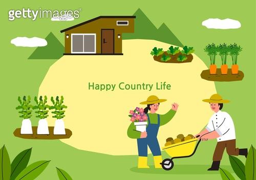 라이프스타일, 집, 전원생활 (컨셉), 별장 (건설물), 가족, 부부, 쟁기질된밭 (들판), 카트 (운송수단), 도시저택 (집)