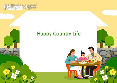 라이프스타일, 집, 전원생활 (컨셉), 별장 (건설물), 가족, 부부, 어린이 (나이), 돌담, 도시저택 (집)