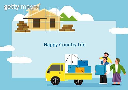 라이프스타일, 집, 전원생활 (컨셉), 별장 (건설물), 가족, 부부, 어린이 (나이), 프레임, 이사, 도시저택 (집)