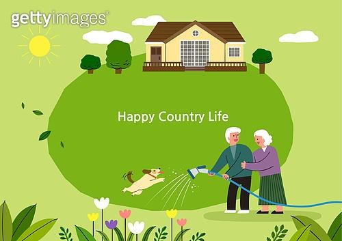 라이프스타일, 집, 전원생활 (컨셉), 별장 (건설물), 가족, 부부, 프레임, 노인커플 (커플), 도시저택 (집)