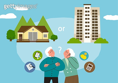 라이프스타일, 집, 전원생활 (컨셉), 별장 (건설물), 가족, 부부, 도시저택 (집), 아파트, 걱정 (어두운표정), 실버라이프 (주제), 노인커플 (커플)