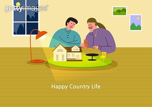 라이프스타일, 집, 전원생활 (컨셉), 별장 (건설물), 가족, 부부, 도시저택 (집), 스탠드