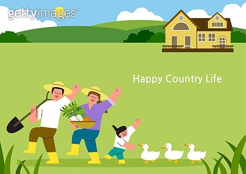 라이프스타일, 집, 전원생활 (컨셉), 별장 (건설물), 가족, 부부, 어린이 (나이), 도시저택 (집), 오리 (민물새), 농업 (주제)