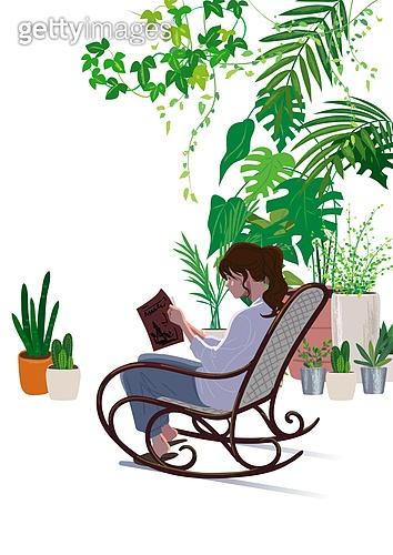 사람, 라이프스타일, 집콕 (컨셉), 집, 레이어드홈, 식물, 화분, 플랜테리어, 독서, 책