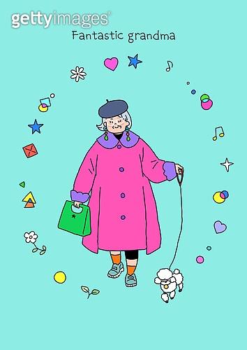 노인 (성인), 프레임, 패션, 멋 (컨셉), 어번그래니 (실버라이프), 노인여자 (성인여자), 애완견 (개), 걷기 (물리적활동)