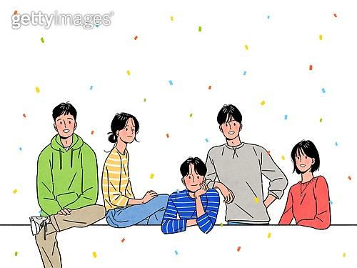 사람, 청년 (성인), 신입사원 (화이트칼라), 꽃가루, 밝은표정, 여러명[3-5] (사람들), 대학생