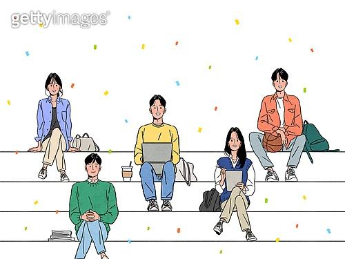 사람, 청년 (성인), 신입사원 (화이트칼라), 꽃가루, 밝은표정, 여러명[3-5] (사람들), 대학생, 앉기, 앉기 (몸의 자세), 노트북컴퓨터 (개인용컴퓨터), 다리꼬기