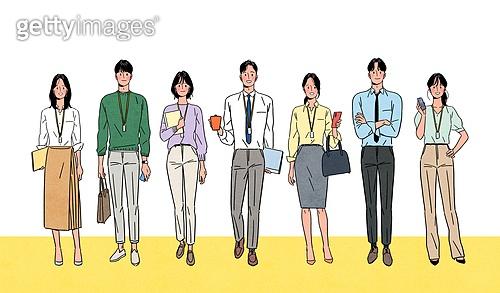 사람들, 일렬 (배열), 밝은표정, 미소 (얼굴표정), 여러명[6-10] (사람들), 앞모습 (카메라앵글), 비즈니스, 화이트칼라 (전문직)