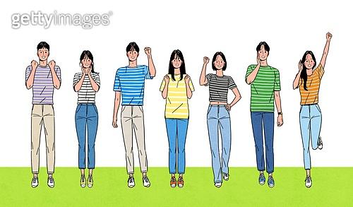 사람들, 일렬 (배열), 밝은표정, 미소 (얼굴표정), 여러명[6-10] (사람들), 포즈 (몸의 자세), 파이팅 (흔들기), 응원, 청년 (성인), 반팔, 여름, 대학생