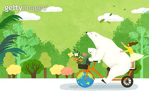환경, 환경보호 (환경), 멸종위기종 (생물), 멸종, 소녀, 사람, 북극곰, 동물, 지구 (행성), 자전거, 나무