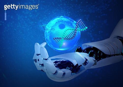 생물학 (과학), 연구 (주제), DNA, 파랑 (색), 인공지능, 로봇
