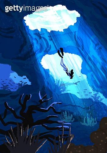 풍경 (컨셉), 여름, 계절, 바다, 휴양지, 바다속, 다이빙 (내려가기)
