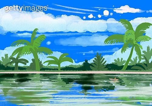 풍경 (컨셉), 여름, 계절, 바다, 휴양지, 해변 (해안), 야자나무 (열대나무), 구름