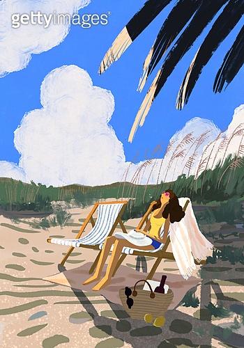 풍경 (컨셉), 여름, 계절, 바다, 휴양지, 해변 (해안), 여성 (성별), 한명 (사람의수), 야자나무 (열대나무)