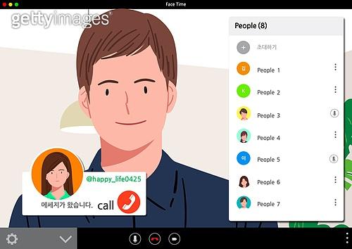 사람, SNS (기술), 스마트폰, 화상통화 (인터넷전화), 대화, 커뮤니케이션 (주제), 모바일앱 (인터넷), 비대면