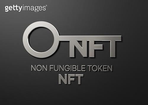 3D, 그래픽이미지, 금융 (Finance and Economy), 경제신문 (펼쳐진신문), 디지털, NFT, 암호화 (자물쇠)