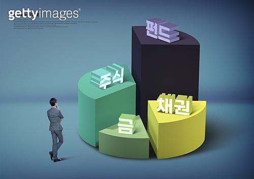 리스크헷지, 분산투자, 경제, 금융, 투자, 자산관리, 비즈니스맨, 뒷모습, 파이차트 (차트)