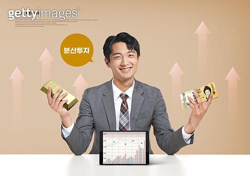 리스크헷지, 분산투자, 경제, 금융, 화폐 (금융아이템), 투자, 자산관리, 비즈니스맨, 금, 화살표