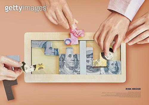 리스크헷지, 분산투자, 경제, 금융, 투자, 자산관리, 사람손 (주요신체부분), 퍼즐, 화폐