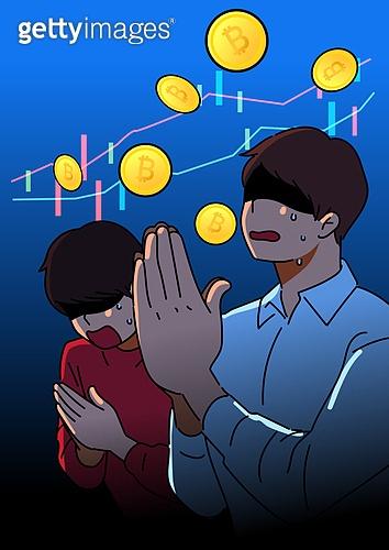 비트코인, 동전 (화폐), 암호화폐, 투자, 도박 (주제), 남성 (성별), 자산관리, 사회이슈 (주제), 우울, 스트레스