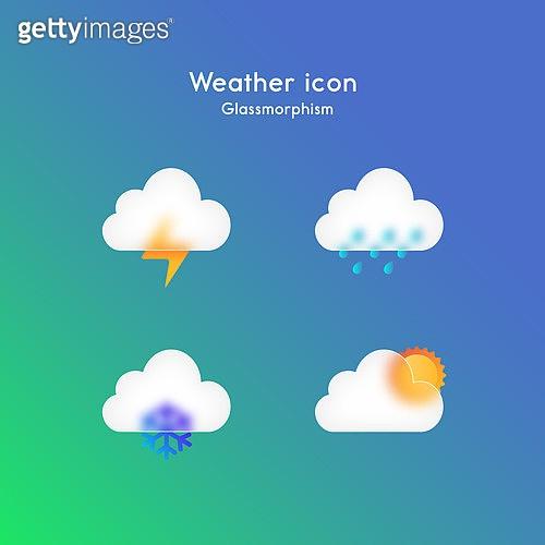 아이콘, 아이콘세트 (아이콘), 글래스모피즘, 트렌드, 날씨, 구름