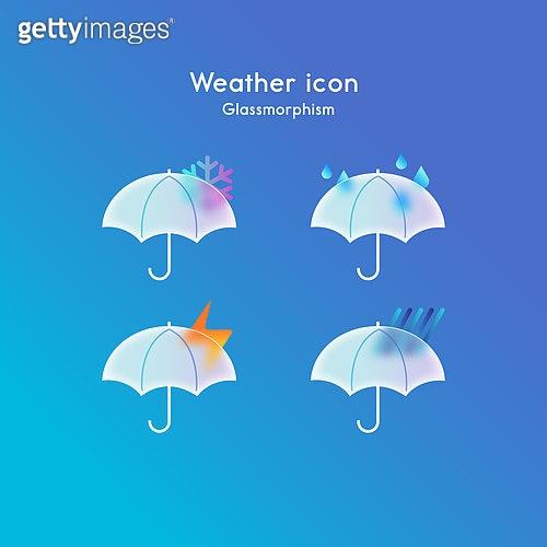 아이콘, 아이콘세트 (아이콘), 글래스모피즘, 트렌드, 날씨, 비 (물형태)
