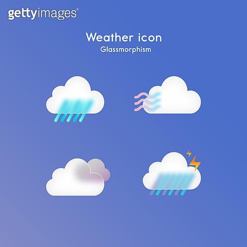 아이콘, 아이콘세트 (아이콘), 글래스모피즘, 트렌드, 날씨, 구름, 흐린날씨 (하늘)