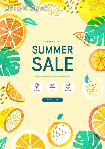 여름, 쇼핑, 배너, 이벤트