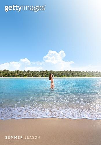 바다, 해변, 풍경 (컨셉), 시원함 (컨셉), 카피스페이스 (콤퍼지션), 여름, 여성 (성별)