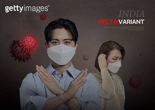 바이러스, 델타변이바이러스 (변이바이러스), 코로나19 (코로나바이러스), 코로나19, 마스크 (방호용품), 거부 (정지활동), 보호 (컨셉)