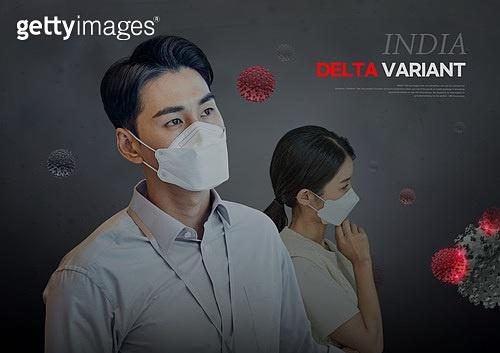 바이러스, 델타변이바이러스 (변이바이러스), 코로나19 (코로나바이러스), 코로나19, 마스크 (방호용품), 걱정 (어두운표정)