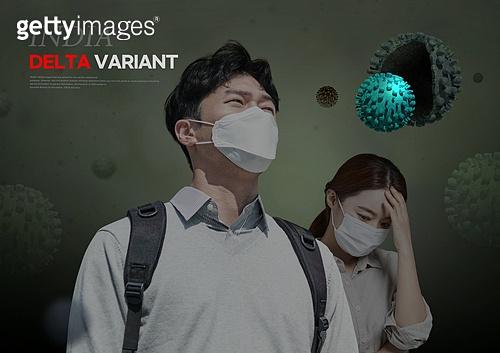 바이러스, 델타변이바이러스 (변이바이러스), 코로나19 (코로나바이러스), 코로나19, 두통, 고열, 걱정 (어두운표정), 마스크 (방호용품)
