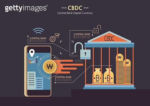 경제, 금융, 은행 (금융빌딩), CBDC (화폐), 비트코인, 스마트폰, 네트워크보안 (컴퓨터소프트웨어)