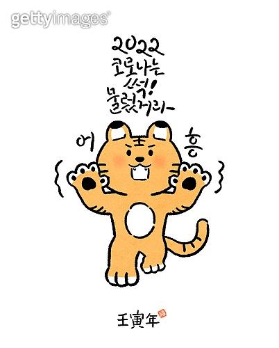 캐릭터, 호랑이 (고양잇과큰동물), 호랑이띠해 (십이지신), 새해 (홀리데이), 연하장 (축하카드), 캘리그래피 (문자), 손글씨, 2022년, 행동 (모션)