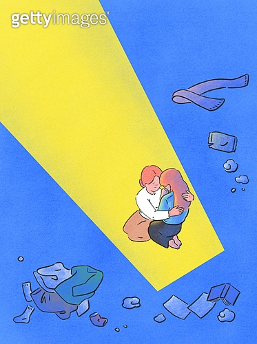 위로, 사람, 응원, 우울, 우울 (슬픔), 정신건강 (주제), 포옹, 빛 (자연현상)