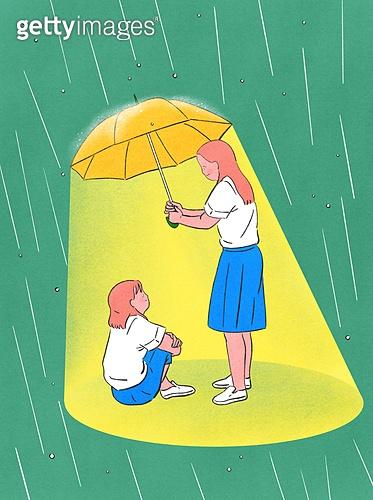 위로, 사람, 응원, 우울, 우울 (슬픔), 정신건강 (주제), 친구, 우산 (액세서리), 비 (물형태)