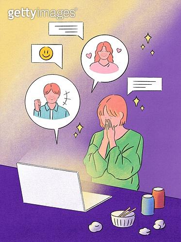 위로, 사람, 응원, 우울, 우울 (슬픔), 정신건강 (주제), 말풍선, SNS (기술), 댓글, 노트북컴퓨터 (개인용컴퓨터), 황홀 (밝은표정)